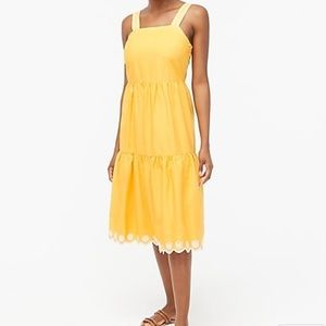 J Crew Saffron Embroidered Scalloped Tiered Dress